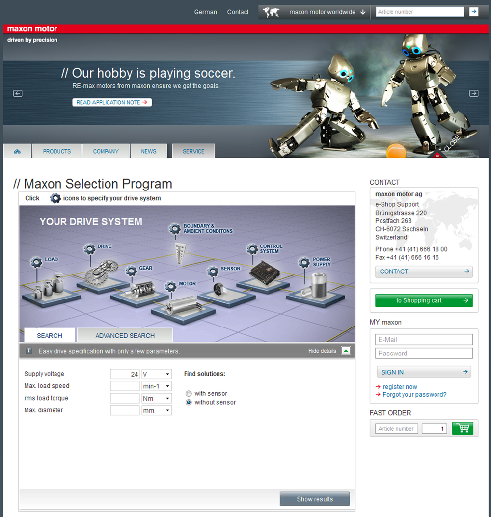 Maxon MSP Online Servo Motor and Drive Sizing Software