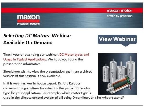 Selecting DC Motors Webinar